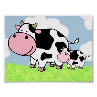 Cow and Baby Poster