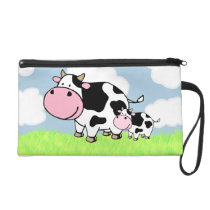 Cow and Baby Wristlet Purse