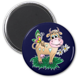 Cow and Butterfly 2 Inch Round Magnet