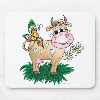 Cow and Butterfly Mouse Pad