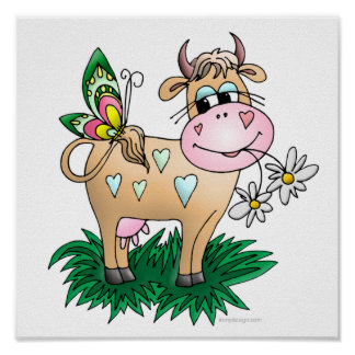 Cow and Butterfly Poster