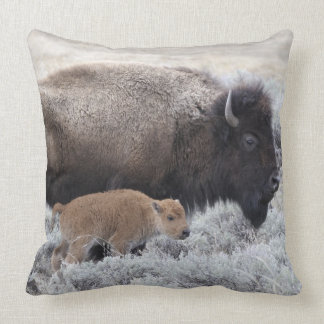 Cow and Calf Bison, Yellowstone 2 Throw Pillow