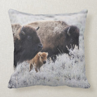Cow and Calf Bison, Yellowstone Throw Pillow