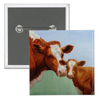 Cow and Calf 2 Inch Square Button