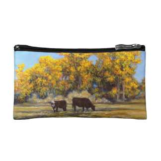 Cow and Calf in Golden Fall Trees Cosmetic Bag