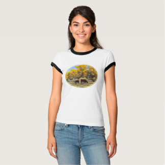 Cow and Calf in Golden Fall Trees T-Shirt
