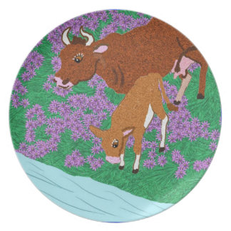 Cow And Calf In The meadow Dinner Plates