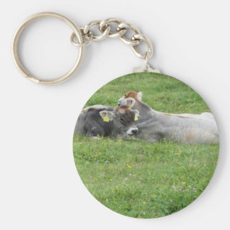 Cow and calf on a summer meadow keychain
