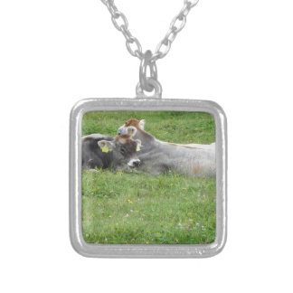 Cow and calf on a summer meadow square pendant necklace