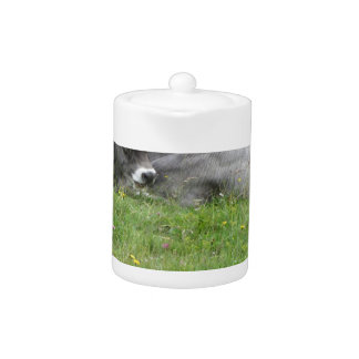 Cow and calf on a summer meadow teapot