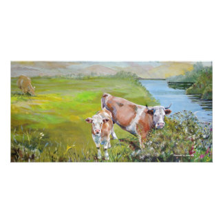 Cow and Calf Painting on a river bank in England Card