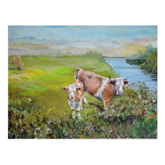 Cow and Calf Painting on a river bank in England Postcard