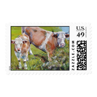 Cow and calf painting stamp