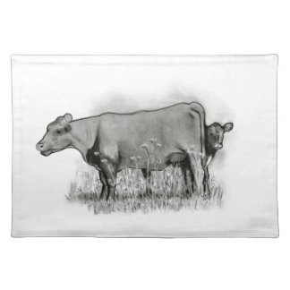 Cow and Calf Pencil Drawing: Farm, Country Placemat