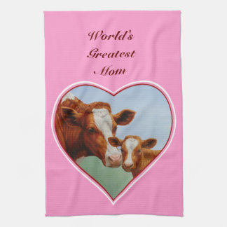 Cow and Calf Pink Heart Towels