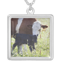 Cow and calf silver plated necklace