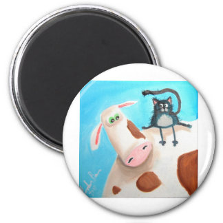 COW AND CAT 2 INCH ROUND MAGNET