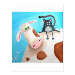 COW AND CAT POSTCARD