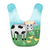 Cow and chicks bib