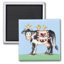 Cow and Chicks Magnet