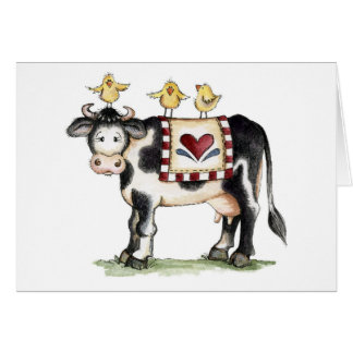 Cow and Chicks - Note Card