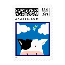 Cow and Dragonfly Postage