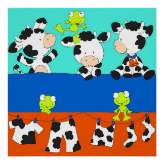 Cow and frog laundry day. posters