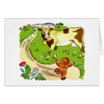Cow and Gingerbread Man Greeting Card