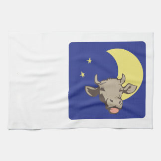 Cow And Moon Hand Towel