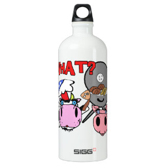 Cow and Pig Schnozzles Barbecue BBQ Cartoon Aluminum Water Bottle