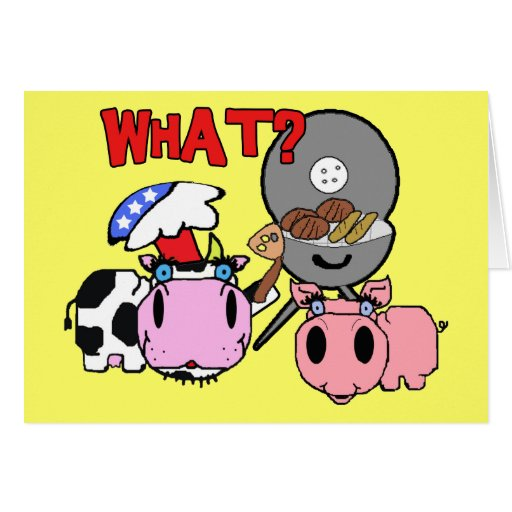 Cow and Pig Schnozzles Barbecue BBQ Cartoon Card