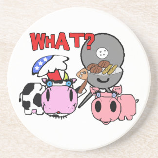Cow and Pig Schnozzles Barbecue BBQ Cartoon Coaster
