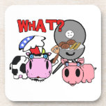 Cow and Pig Schnozzles Barbecue BBQ Cartoon Beverage Coasters