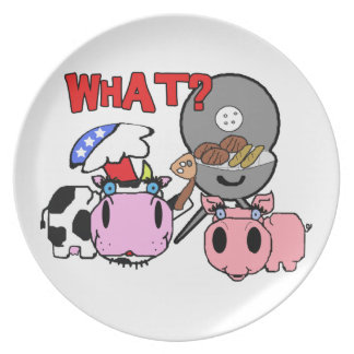 Cow and Pig Schnozzles Barbecue BBQ Cartoon Dinner Plate