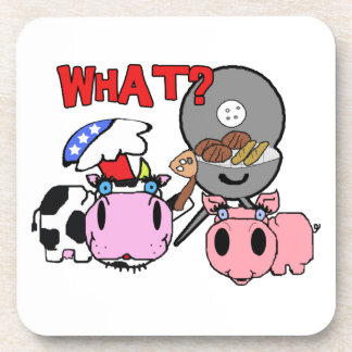 Cow and Pig Schnozzles Barbecue BBQ Cartoon Drink Coaster