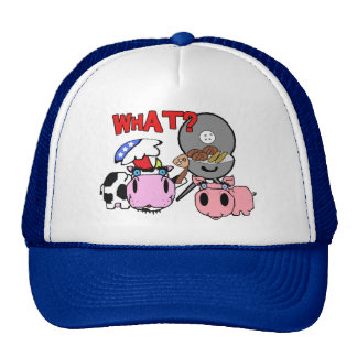 Cow and Pig Schnozzles Barbecue BBQ Cartoon Trucker Hats