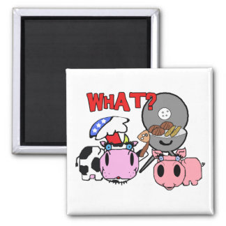 Cow and Pig Schnozzles Barbecue BBQ Cartoon Magnet