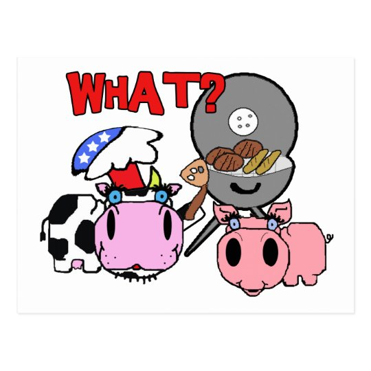 cow and pig schnozzles barbecue bbq cartoon postcard zazzle com