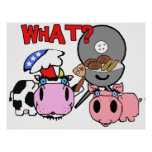 Cow and Pig Schnozzles Barbecue BBQ Cartoon Poster