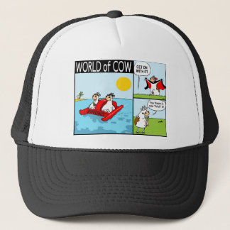 Cow and Udder Play Fetch, Cow Dracula and Holiday Trucker Hat