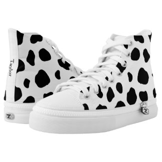 Cow Animal Print with Custom Name Printed Shoes