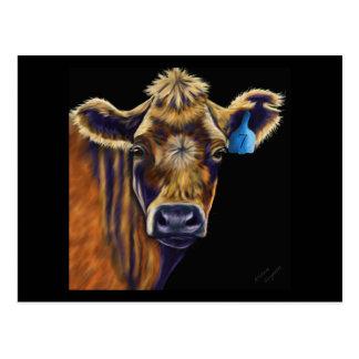 Cow Art - Lucky Number Seven Postcard