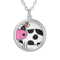 cow art silver plated necklace