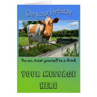 Cow at trough Birthday Card
