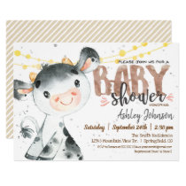 Cow Baby Shower invitation, Boy, Farm Invitation