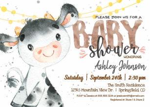 Cow Baby Shower Invitation Boy Farm