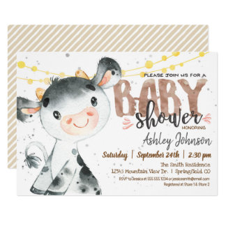 Cow Baby Shower invitation, Boy, Farm Invitation