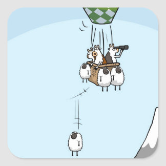 Cow Ballooning Square Sticker