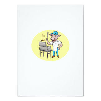 Cow Barbecue Chef Smoker Oval Cartoon Card