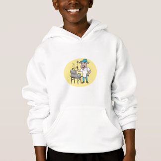 Cow Barbecue Chef Smoker Oval Cartoon Hoodie